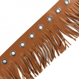 faux leather fringe ribbon trim with eyelets 105 mm - toffee x 50 cm