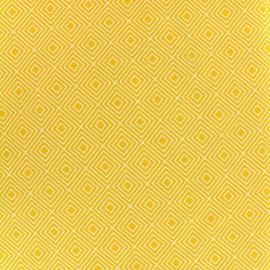 Tissu coton Poppy Square - blanc/jaune x 10cm