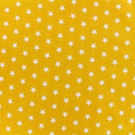 Tissu coton Popeline Poppy - Etoiles blanches - jaune x 10cm