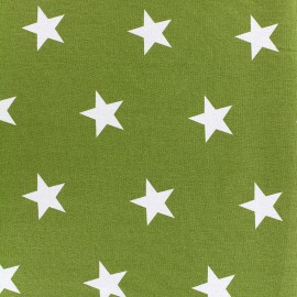 Poppy cotton Fabric - moss green Big white star x 10cm