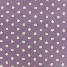 Tissu coton pois 7mm - blanc/parme  x 10cm