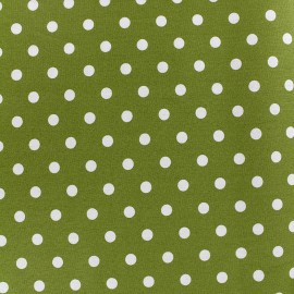 Cotton Fabric pois 7 mm - white/moss x 10cm