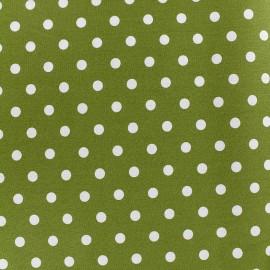 Tissu coton pois 7mm - blanc/mousse x 10cm