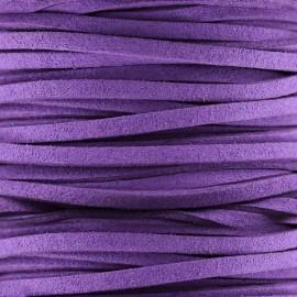 Lacet cuir plat 3 mm - mauve