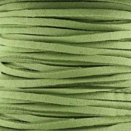 Lacet cuir plat 3 mm - vert clair