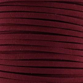 Lacet cuir plat 3 mm - bordeaux
