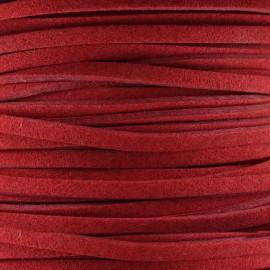 Lacet cuir plat 3 mm - rouge