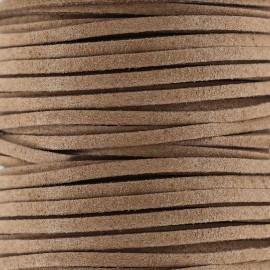 Lacet cuir plat 3 mm - châtaigne