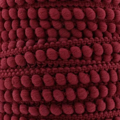 Little pompom braid trimming Color - burgundy x 1m