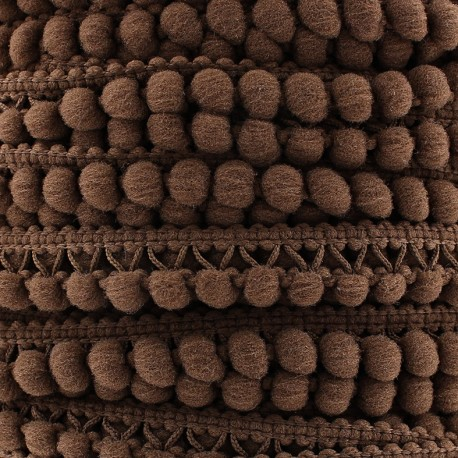 Little pompom braid trimming Color - chocolate x 1m