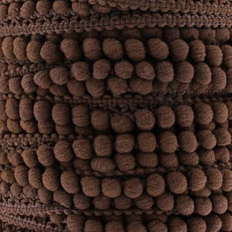 Little pompom braid trimming Color - brown x 1m