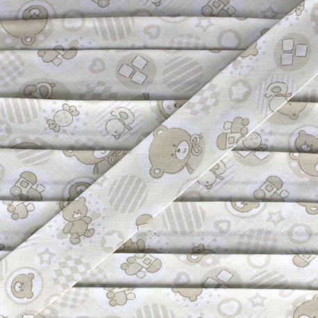 Bias binding, fantasy teddy bear - beige