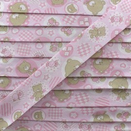 Bias binding, fantasy teddy bear - pink