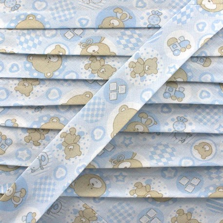 Bias binding, fantasy teddy bear - sky blue