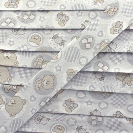Bias binding, fantasy teddy bear - light grey