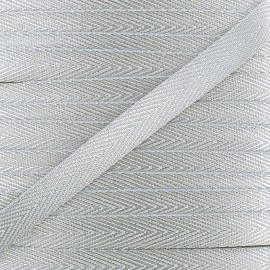 Twill Lurex ribbon - silver x 1 m