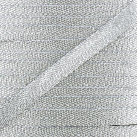 Twill Lurex ribbon - silver x 1 m