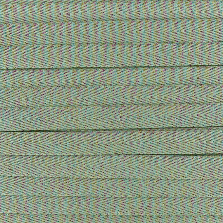 Twill iridescent lurex ribbon - light green x 1m
