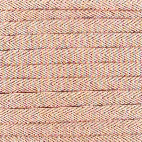Ruban sergé irisé lurex - corail x 1 m