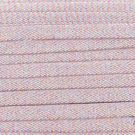 Ruban sergé irisé lurex - rose x 1 m