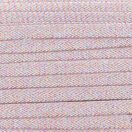 Twill iridescent lurex ribbon - pink x 1m