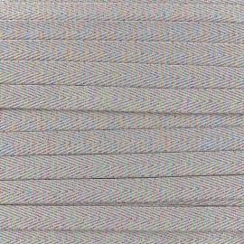 Ruban sergé irisé lurex - taupe x 1 m