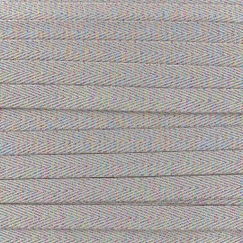 Twill iridescent lurex ribbon - taupe x 1m