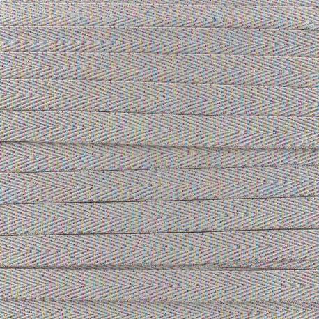 Twill iridescent lurex ribbon - taupe x 1m