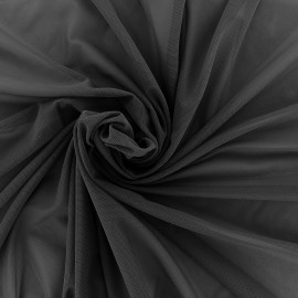 Elastic tulle fabric - black x 1m