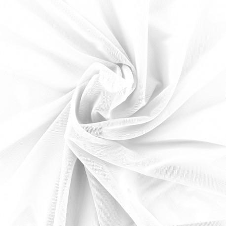 Elastic tulle fabric - white x 1m