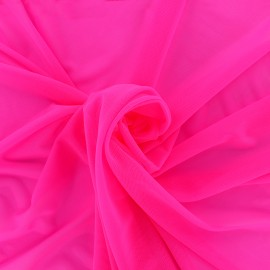 Elastic tulle fabric - pink neon x 1m