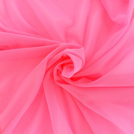 Elastic tulle fabric - candy pink x 1m