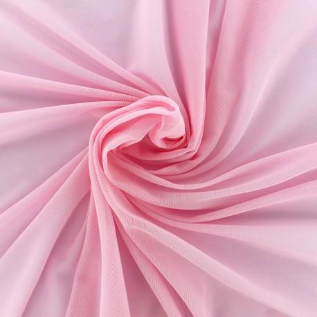 Elastic tulle fabric - light pink x 1m