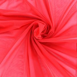 Elastic tulle fabric - red x 1m