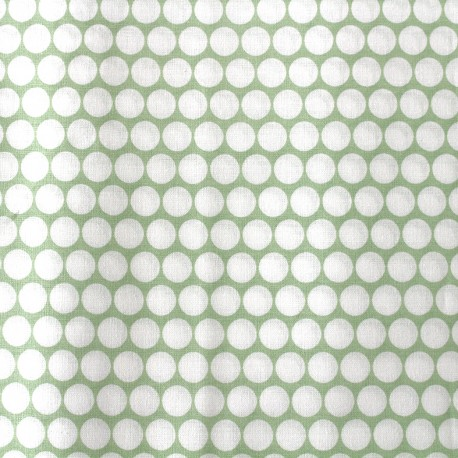 Percale cotton fabric (3m) Pois - light green x 10cm