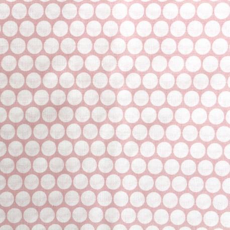 Tissu percale de coton grande largeur Pois - rose clair x 10cm