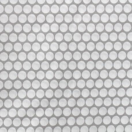 Percale cotton fabric (3m) Pois - light grey x 10cm