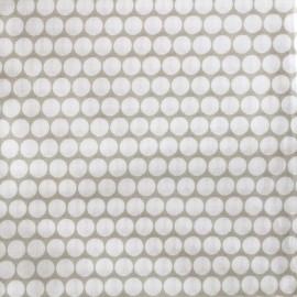 ♥ Coupon 20 cm X 300 cm ♥ Tissu percale de coton grande largeur Pois - taupe clair