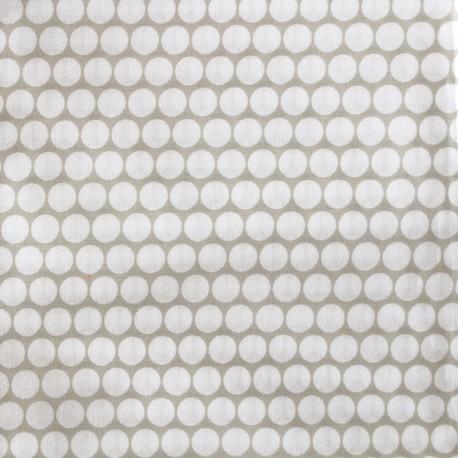 Tissu percale de coton grande largeur Pois - taupe clair x 10cm