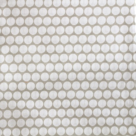 Percale cotton fabric (3m) Pois - light taupe x 10cm