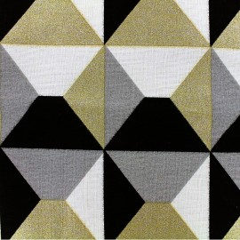 Tissu toile de coton Bachette Geometrik - noir/or x 18cm