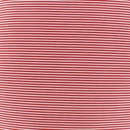 Tissu percale de coton grande largeur Rayures - rouge x 10cm