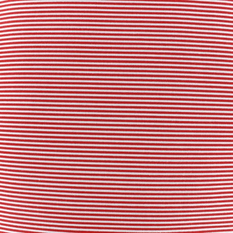 Percale cotton fabric (3m) Rayures - red x 10cm