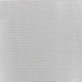 Tissu percale de coton grande largeur Rayures - gris clair x 10cm