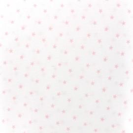 Tissu percale de coton grande largeur Etoiles - rose x 10cm