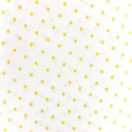 Tissu percale de coton grande largeur Etoiles - jaune x 10cm