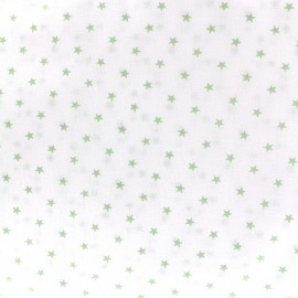 Percale cotton fabric (3m) Etoiles - light green x 10cm