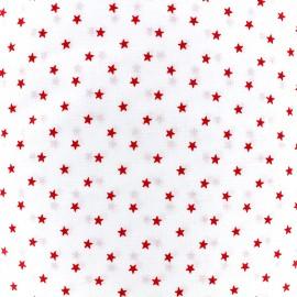 Tissu percale de coton grande largeur Etoiles - rouge x 10cm