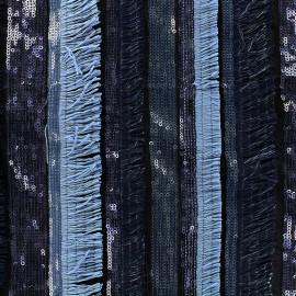 Tissu Franges et paillettes x 10cm