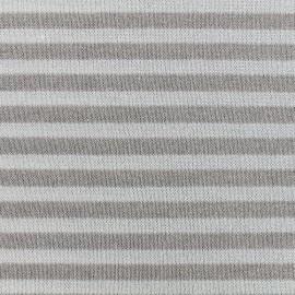 Tissu Maille lurex rayée taupe x 10cm